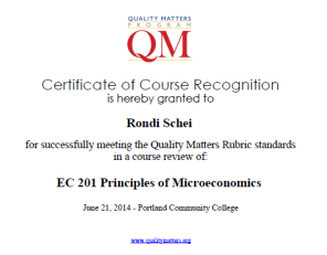 QM Certificate for Rondi Schei